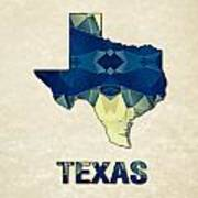 Polygon Mosaic Parchment Map Texas Poster