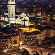 Ponte Pietra And Duomo Of Verona Dusk Poster