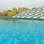 Pool And Roof Of Alexandria Library-egypt  Poster