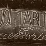 Pool Tables And Accessories - Vintage Neon Sign Poster
