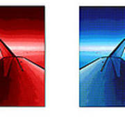 Red Blue Jet Pop Art Planes  Poster