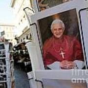 Pope Benedict Xvi. Postcard In A Rack. Rome. Lazio. Italy. Europe Poster by Bernard Jaubert
