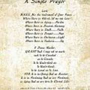 Pope Francis St. Francis Simple Prayer Butterflies Poster by Desiderata Gallery