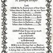 Pope Francis St. Francis Simple Prayer Faith On Fleury Poster