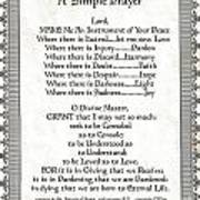 Pope Francis St. Francis Simple Prayer Scrolling Faith Poster