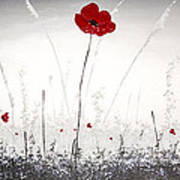 Poppies At Dusk Poster