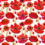 Poppies Field. Seamless Vector Pattern Poster