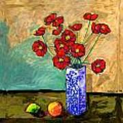 Poppies In A Vase With Fruit Poster