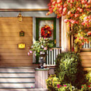 Porch - Cranford Nj - Simply Pink Poster by Mike Savad
