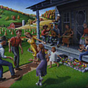 Porch Music And Flatfoot Dancing - Mountain Music - Appalachian Traditions - Appalachia Farm Poster