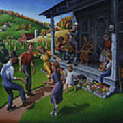 Porch Music And Flatfoot Dancing - Mountain Music - Farm Folk Art Landscape - Square Format Poster