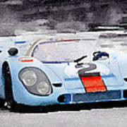Porsche 917 Gulf Watercolor Poster