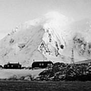 port lockroy british Antarctica trust base museum with anvers island in the background Poster