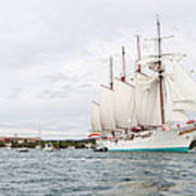 Juan Sebastian De Elcano Famous Tall Ship Of Spanish Navy Visits Port Mahon In Front Of Bloody Islan Poster