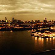 Port Miami Golden Photopaint Poster