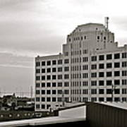 Port Of Galveston Building In B And W Poster