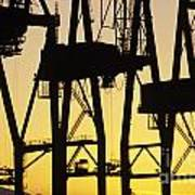 Port Of Seattle Cranes Silhouetted Poster
