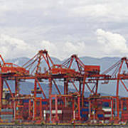 Port Of Vancouver Bc Cranes And Containers Poster