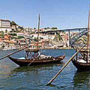 Port Wine Boats In Porto City Poster