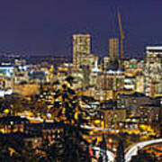 Portland Cityscape And Freeway At Blue Hour Poster