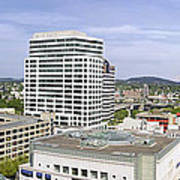 Portland Downtown Cityscape With River And Mountain Poster