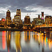 Portland Downtown Skyline At Sunset Poster