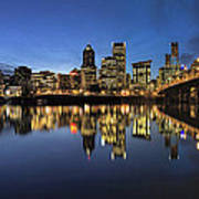 Portland Downtown Skyline By Hawthorne Bridge At Blue Hour Panor Poster