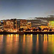 Portland Downtown Skyline Night Panorama Poster