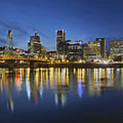 Portland Downtown With Hawthorne Bridge At Blue Hour Poster
