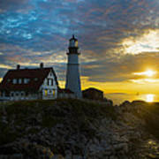 Portland Head Light At Dawn Poster by Diane Diederich