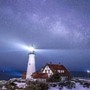 Portland Head Light Under The Milky Way Poster