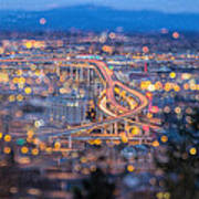 Portland Marquam Freeway With Bokeh Lights Poster