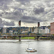Portland Oregon Downtown Along Willamette River Poster