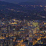 Portland Oregon Downtown Cityscape At Blue Hour Poster