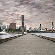 Portland Oregon Downtown Skyline By The Marina At Sunset Poster