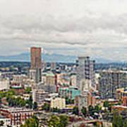 Portland Oregon Downtown View Panorama Poster