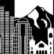 Portland Oregon Skyline Black And White Illustration Poster