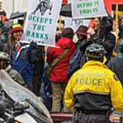Portland Police Controlling Occupy Portland Crowd Of Protesters Poster