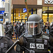 Portland Police In Riot Gear Closeup Poster