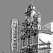 Portland Skyline Hollywood Theater - Pewter Poster