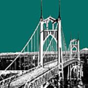 Portland Skyline St. Johns Bridge - Sea Green Poster