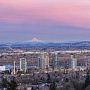 Portland South Waterfront At Sunset Panorama Poster
