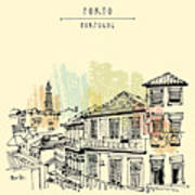 Porto, Portugal, Europe. Street In Old Poster