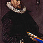 Portrait Of A Man Holding A Skull 1612 Poster