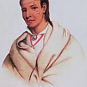 Portrait Of A-mis-quam, A Winnebago Brave Coloured Engraving Poster
