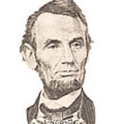 Portrait Of Abraham Lincoln On White Background Poster