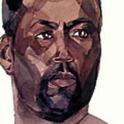 Watercolor Portrait Of An Athlete Poster