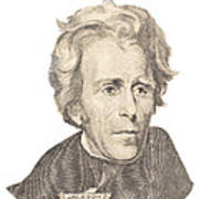 Portrait Of Andrew Jackson On White Background Poster