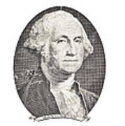 Portrait Of George Washington On White Background Poster