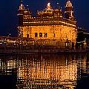 Portrait Of Golden Temple At Night Poster